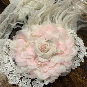 Dollcake Pink Flower/Feather Headband/Sash